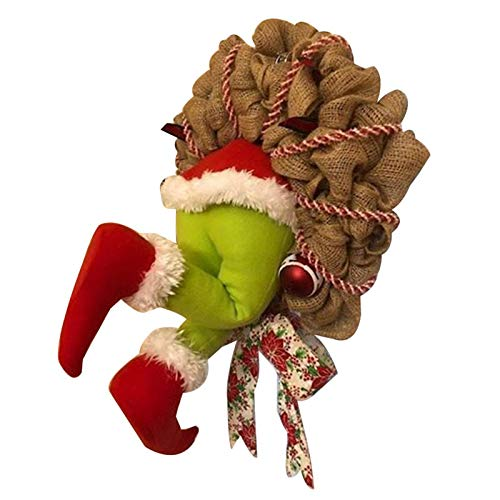 Aemiy Christmas Wreath, How the Grinch Stole Christmas Burlap Wreath Christmas Garland Decorations, Stuffed Legs Stuck in Wall Super Cute and Lovely Great Gifts for Friends