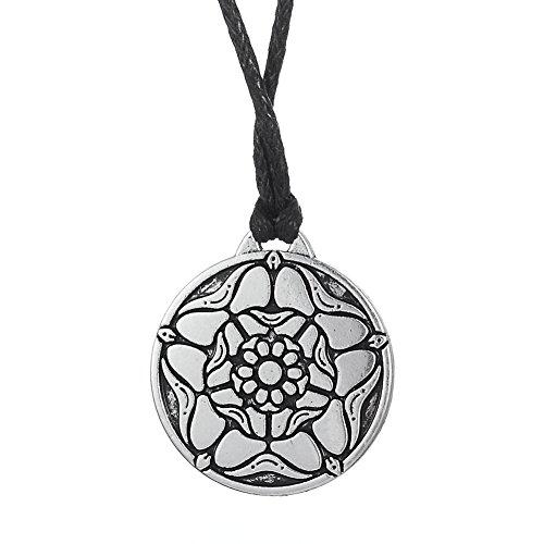 fishhook Vintage Tudor Rose Simbolo British Royal Pendant Necklace Jewelry e Lega