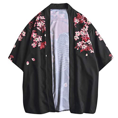 MOTOCO Camiseta de Hombre Cárdigan Casual Estampado Suelto Chaqueta Kimono Japonesa Top de Manga Corta Camisa Retro Camisa de Manga 3/4 Manga Larga/Manga Corta(XL,Negro-1)