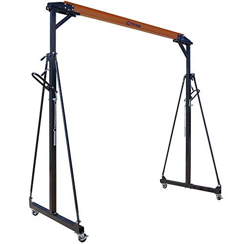 Titan Attachments 1/2 Ton Capacity Adjustable Steel Gantry Crane Shop Lift Hoist Frame Only Idea for Moving Engines