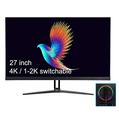YAOJP Monitor Gaming 4K, Interfaz DP 27 '' Pantallas Ordenador Admite Pantalla 2K-144Hz, Protección Ocular con Luz Azul IPS Pantalla con Luces De Ambiente De Colores
