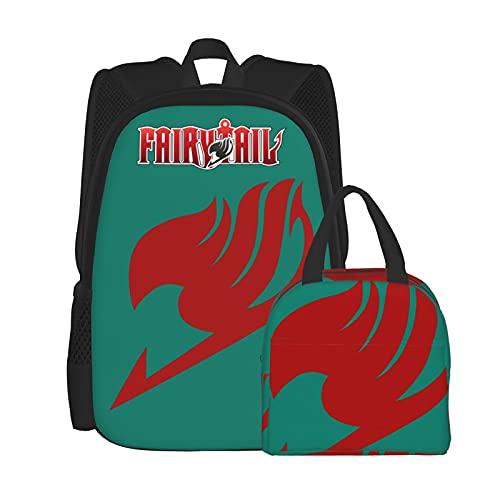 Mochila casual con logotipo de cola de hadas para niña, mochila clásica básica al aire libre, mochila impresa 3D, con bolsa de almuerzo a prueba de fugas, juego para trabajo, viajes, regalo, estudio