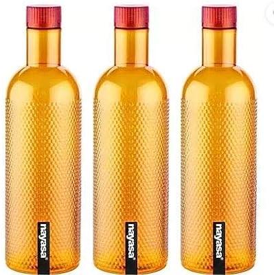 Nayasa Water/Fridge Bottle 1000 ml Bottle(Pack of 3, Orange, Plastic) by Krishna Enterprises
