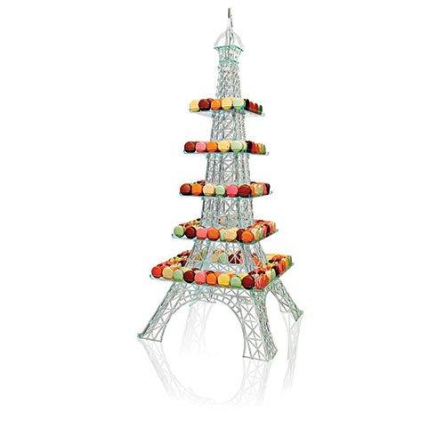 Cuisineonly - Set di 5 piatti per espositore a forma di Tour Eiffel, motivo: Le macaron du chef