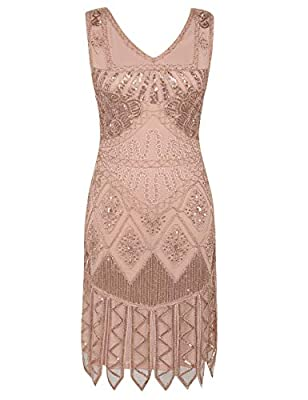 PrettyGuide Women's Flapper Dress Sequin Embroidered 1920s Cocktail Dress
