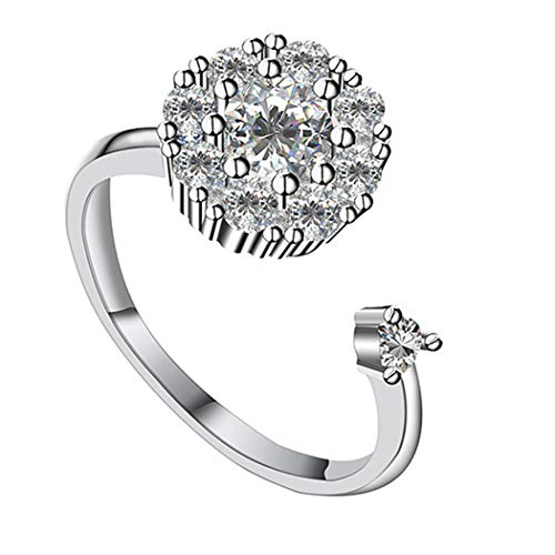 Eleusine Womens Open Flower Spinner Ring Cubic Zirconia Engagement Wedding Band Stress Relief Fidget Toys