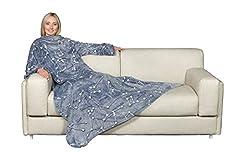 Idea Regalo - Kanguru Deluxe Glow Costellazioni, SI ILLUMINA DI NOTTE, coperta con le maniche e tasca centrale, in soffice pile, 140x180 cm