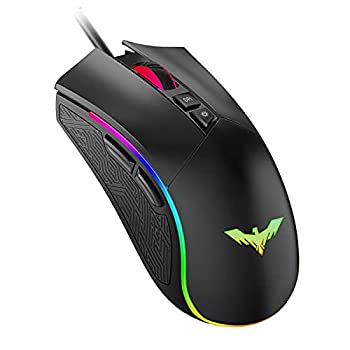 Havit RGB Gaming Mouse Wired Programmable Ergonomic USB Mice 4800 Dots Per Inch 7 Buttons & 7 Color Backlit for Laptop PC Gamer Computer Desktop  Black