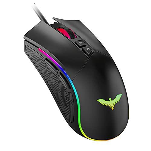 Havit RGB Gaming Mouse Wired Programmable Ergonomic USB Mice 4800 Dots Per Inch 7 Buttons & 7 Color Backlit for Laptop PC Gamer Computer Desktop (Black)