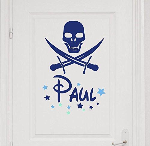 Türaufkleber mit Wunschnamen, 73060-29cm-tricolore-blau, mit bunten Sternen, Totenkopf, Pirat, Piratenflagge - fürs Spielzimmer Jungenzimmer, Kinderzimmer Jungen, Kinderaufkleber, Wandaufkleber