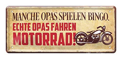 Echte Opas fahren Motorrad - Retro Deko Blechschild - Metallschild Geschenk für Opi Großvater Opa - Dekoration Schild Opas Garage Bike Werkstatt Hobbykeller - schöne Geschenkidee Enkelkinder - 28x12cm