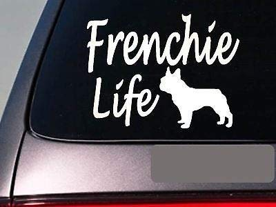 Frenchie Life Vinyl Decal Car Window Stickers for Laptop Quote Funny Decals Computer Water Bottle Door Stickers Wall Decor