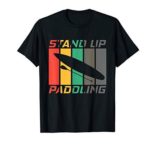 Stand Up Paddling - Board & Paddel Retro SUP Paddelsport T-Shirt