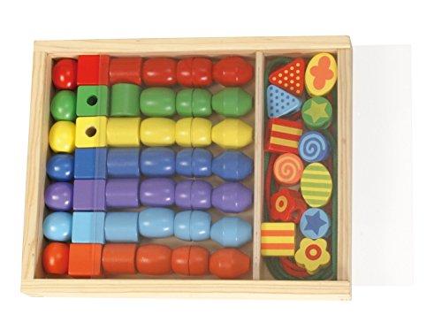 Lena 32010 - Bastelset Holzfädelperlen in Holzkassette, mit 54 Fädelperlen aus Holz, ca. 3 cm groß, Holzperlen Set für Kinder ab 3 Jahre, Perlen Set zum selber gestalten von Schmuckketten