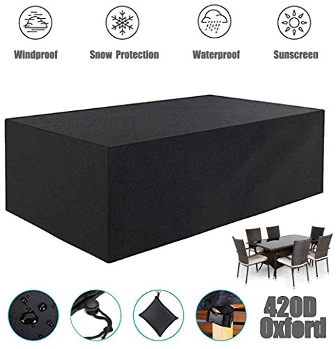 ZHAONI Patio Furniture Covers Outdoor, Rectangular Waterproof Table Cover, Fire Pit Cover, Side Table Cover, 420D Oxford Furniture Cover, for Waterproof, UV, Tear-Resistant,270x180x89cm/9x6x3ft