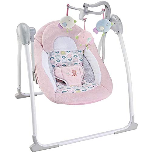 Dondolo Per Neonati Elettrico Fitch Baby Musicale Velocità Regolabile Dondolino Altalena Automatica con Timer regolazione volume schienale regolabile e Giostrina Giochi (Rosa)