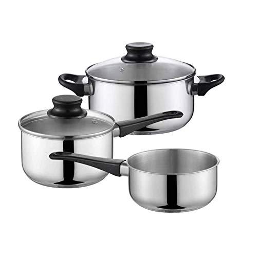 Batería de cocina Resistente Cocina Pan Set Pan friurador de acero inoxidable para el hogar Potes sin recubrimiento Potes sin recubrimiento para cocinar el fondo de múltiples capas compuesto Fácil de