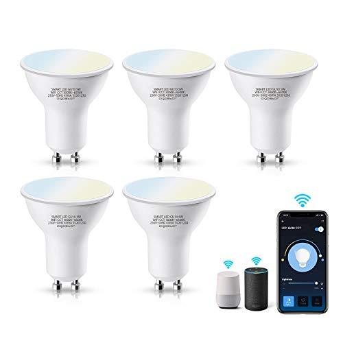 Aigostar Bombilla LED inteligente WiFi GU10, 5W. Regulables de luz cálida a blanca (3000 a 6500 K). Bombilla inteligente compatible con Alexa y Google Home. Equivalente a 35W incandescente.Pack 5 uds