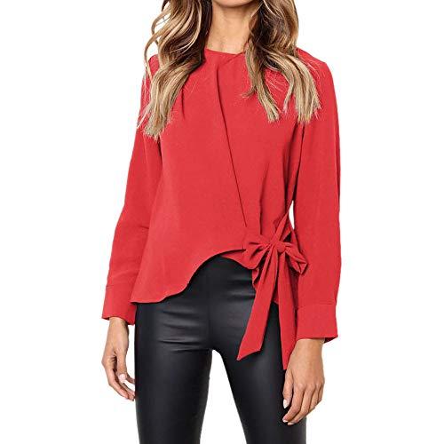 Camisas Mujer, BBestseller 2018 Nuevo Blusas para Mujer Vaquera Sexy Gasa Tops Camisetas Mujer Cremallera Manga Corta Blusas Fiesta Camisetas Pulóver Ropa cálida Mujer (L, Rojo)