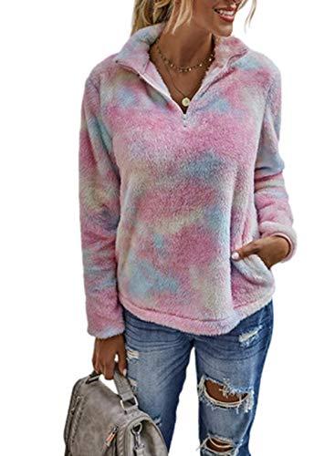 Felpa da donna in pile con stampa a maniche lunghe, con zip e tasche rosa L