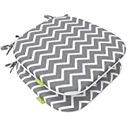 LVTXIII Indoor/Outdoor Chair Cushions Seat Cushions with Ties, Patio Chair Pads 16x17 Inch for Patio Furniture Garden Home Office Decoration Set of 2, Zigzag Grey