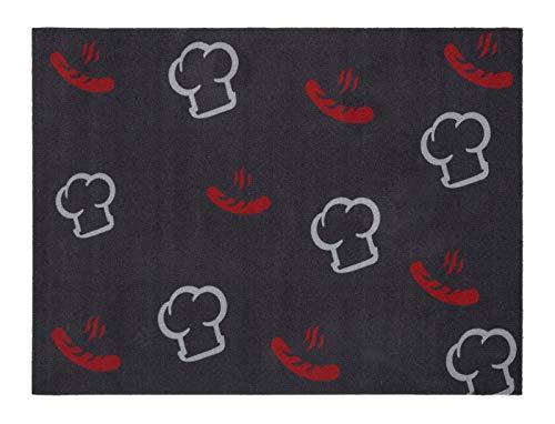 andiamo Grillmatte BBQ, robust, mehrer Grilldesigns & Größen Rechteck & Rund, Größe:90 x 120 cm, Farbe:Kochmütze