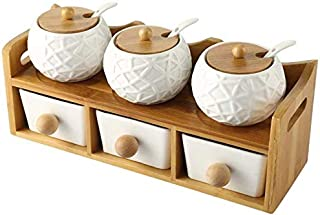 Kitchen Seasoning Box/Ceramic Condiment Storage Container with Tray Bamboo lid six-Piece Set Spoon