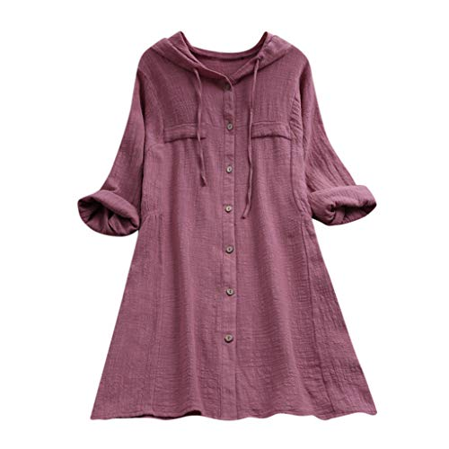 WARMWORD Mujer Tops Las Mujeres de Manga Larga Blusa Suelta Pullover Button Tops Camisa Capucha de Bolsillo Camisas Mujer Blusa con Botones Camisetas Manga Larga Tops Color Sólido