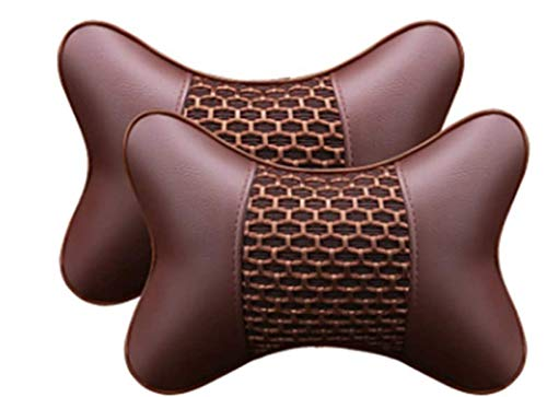 GJPSXTY 2 reposacabezas cómodos para coche, reposacabezas de espuma viscoelástica, cojín cervical con correa de fijación extraíble para asiento de coche (beige) D