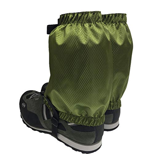 SM SunniMix 2 Pairs Gaiters, Low Snow Ankle Gaiters for Women & Men & Youth Outdoor Hiking Walking Backpacking, Lightweight Waterproof Adjustable - Army Green