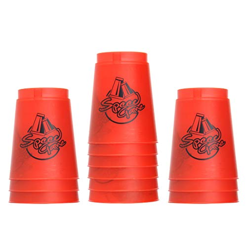 Quick Stack Cups, 12 Pack Stacking Cups Classic Stack Speed Training Game Toys for Boys Girls Teenagers (Red)