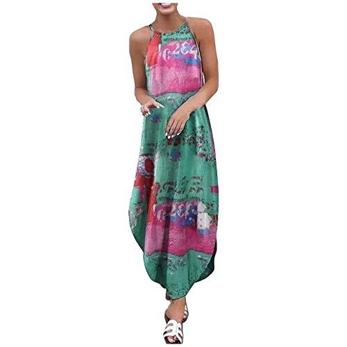 KIMODO Sommerkleid Abendkleid Partykleid Cocktailkleid Damen Hosenträger Kleider mit Blüte Drucken Lange Lässig Mode Freizeitkleid Strandkleid Leibchenkleid (A-Grün, XXL)