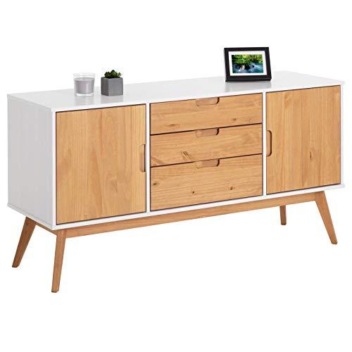 IDIMEX Anrichte Tivoli im skandinavischen Design, Sideboard Kommode im nordischen Stil, aus massiver Kiefer, 2 Türen und 2 Schubkasten, weiß/gebeizt