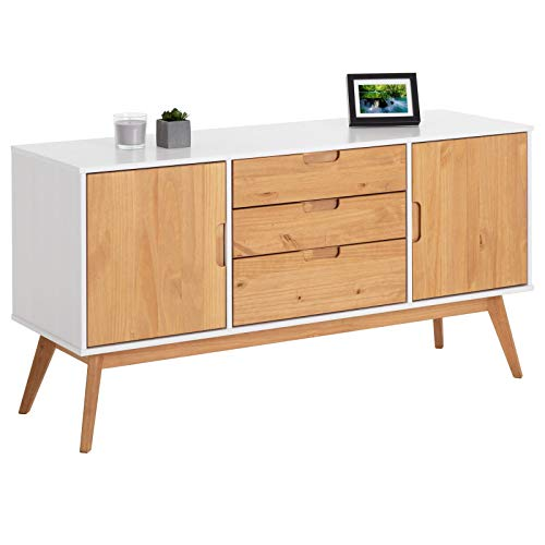 IDIMEX Buffet Tivoli Style scandinave Design Vintage Nordique Commode bahut vaisselier avec 3 tiroirs et 2 Portes...