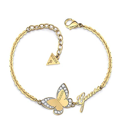 Pulsera Guess Love Butterfly acero inoxidable quirúrgico logo chapada oro UBB78050-S [AC1120]