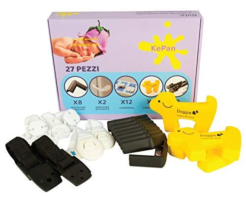 KePan KIT SICUREZZA BAMBINI CASA 8 copri spigoli per bambini, 2 cinghie tv, 12 copri prese, 2 blocca cassetti, 3 fermaporta animali