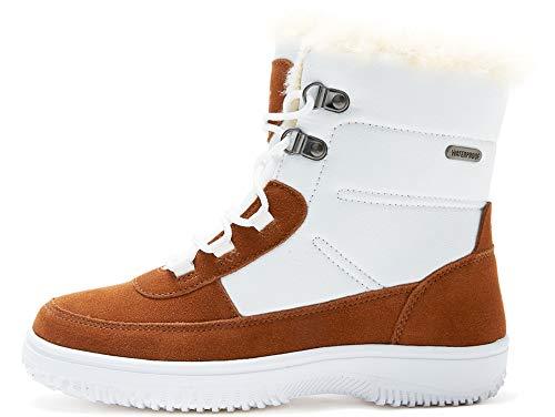 riemot Botas de Nieve Senderismo para Mujer, Botines de Invierno Impermeables Deportes Trekking, Zapatos Invierno Cálido Forro de Piel Antideslizante Sneakers, Blanco Marrón EU 36