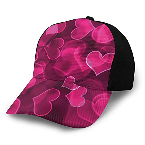 Gorra de béisbol estructurada, linda forma de corazón dulce en fondo borroso romántico amor día de San Valentín sombrero de papá se adapta a hombres y mujeres, perfil bajo ajustable