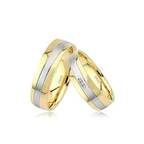 GIORO Fano Eheringe Trauringe Hochzeitsringe massiv Gold Bicolor Weißgold *handgefasste Brillant Steine* Paarpreis Echtes Gold