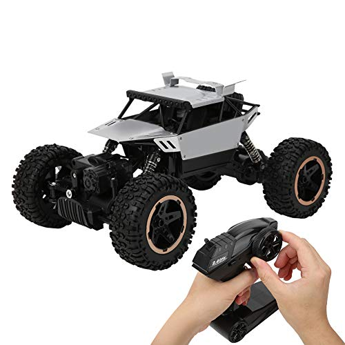Coches RC a escala 1:18 15+ kmh de alta velocidad Coche de control remoto para niños Camión todoterreno Eléctrico Camiones de juguetes impermeables todo terreno Coches RC Drift(Plata)