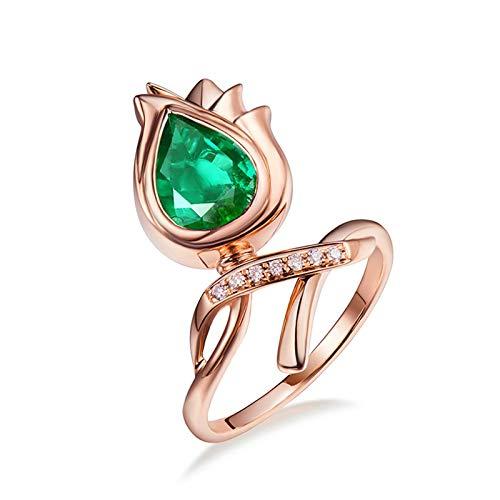 Daesar Anillo Oro Rosa Mujer 18K,Flor Esmeralda Verde 1.19ct Diamante 0.05ct,Oro Rosa Verde Talla 23,5
