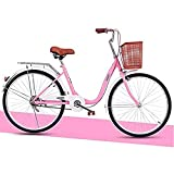 CDPC Bicicleta para Mujeres, Bicicleta de Ocio para Adultos de 24 Pulgadas, con Marco Delantero, Carrito de Compras para viajeros con Marco de Acero con Alto Contenido de Carbono (Color: Rosa, ta