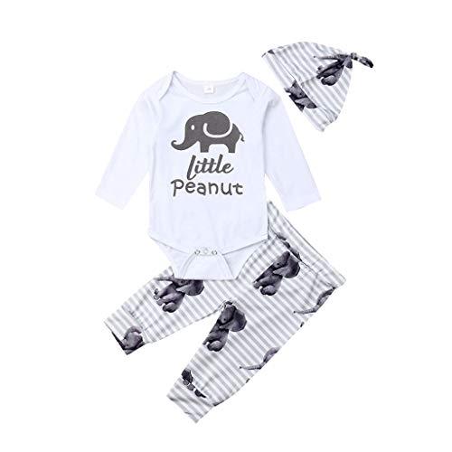 DAY8 Pyjama Bebe Fille Naissance Vetement Bebe Garçon Ensemble Bébé Fille Hiver Habit Bebe Fille Imprimé Éléphant Barboteuse Body Bebe Fille Manche Longue + Pantalons + Bonnet (Blanc, 80(6-12 Mois))
