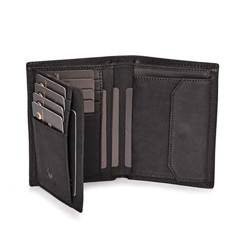 DONBOLSO® Portefeuille Wien I Grand Portefeuille pour Homme I Portemonnaie en Cuir avec Protection RFID I Noir