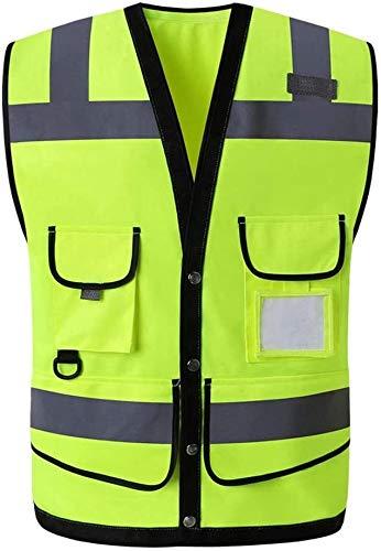 PATAWFFF Chaleco de Seguridad Ropa de Trabajo Chalecos Chaleco Reflectante Chalecos Reflectantes de Advertencia de tráfico Chalecos Multibolsillos (Color : Yellow, Size : L)