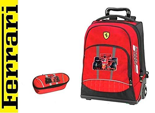Scuola Trolley Zaino Ferrari Astuccio Zip + Omaggio Penna Glitterata + segnalibro