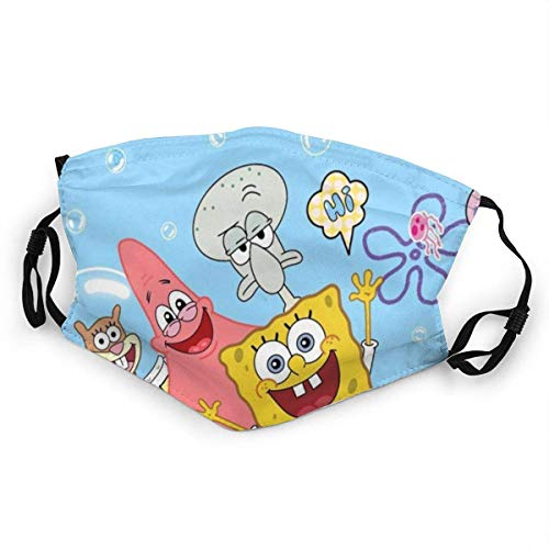 Spongebob Mundschutz Anti-Staub Waschbar Wiederverwendbarer Mundschutz Modedesign für Kinder Jungen Mädchen Teenager