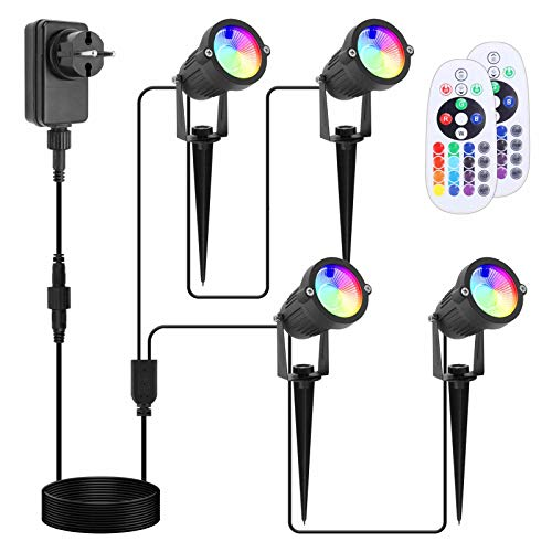 APONUO RGB Gartenbeleuchtung 12V, 30m LED RGB Gartenscheinwerfer, Wegbeleuchtung mit Adapter, Gartenleuchte mit Fernbedienung IP66 wasserdicht (4er-Set) [Energieklasse A +++]