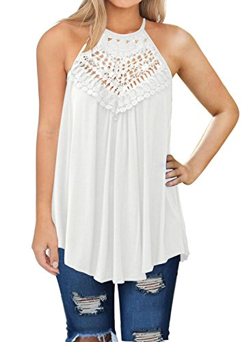 MIHOLL Women Loose Casual Summer Pleated Flowy Plus Size Vests Tops (White, Large)
