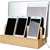 Bamboo Charging Station for Multiple Devices of Universal Cell Phones Tablets, Wooden Fast Phone Charging Docking...